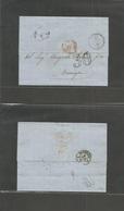 "Tunisia. 1864 (30 Oct) Tunis - France, Marseille (4 Nov) EL Full Text / Stampless, Depart Cds + 30  Red ""Tunis Par Bone"" - Tunisie (1956-...)"