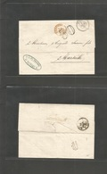 "Tunisia. 1865 (5 Febr) French PO. Tunis - France, Marseille (15 Febr) EL Full Text, Stampless, Cds + 30 + Red ""Tunis Par - Tunisie (1956-...)"