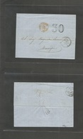 "Tunisia. 1865 (9 July) Tunis - Marseille. France. EL Full Text Stampless Depart Cds + 30 + Red ""Tunisia Par Bone"" Cds. F - Tunisie (1956-...)"