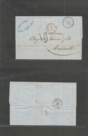 "Tunisia. 1867 (21 Dec) Tunis - France, Marseille (27 Dec) Stampless EL Full Text Depart Cds (xxx Perfect Strike) + ""6"" + - Tunisie (1956-...)"