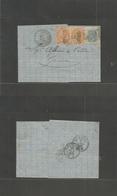 """Tunisia. 1868 (29 June) Italian PO. Tunisi - Genova (2 Aug) EL Fkd 20c Brown (x2) + 20c, """"255"""" Dots + Cds Alongside. Fin - Tunisie (1956-...)"""