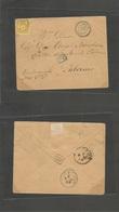 Tunisia. 1881 (28 May) Sfax - Italy, Sicily, Palermo (3 June) Fkd Envelope France 25c Sage, Tied Blue Cds. Fine Origin + - Tunisie (1956-...)