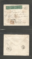 Tunisia. 1881 (7 June) GPO, French PO Mail - Italy, Palermo. Envelope Fkd France 5c Green Sage (x4) Tied Cds + Taxed + C - Tunisie (1956-...)