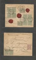 Turkey. C. 1898 (8 April) Salonique - Brousse. Reverse And Front Registered Multifkd Envelope + 3 Red Wax Seals. Fine. - Turkey