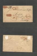 Usa. C. 1850s (Dec 14) Rushville, Illinois - Germany, Wiesbaden (15 Jan) Cash Prepaid US Via NY / US Packet / 8c Period  - United States
