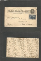 Usa - Stationery. 1894 (7 Jan) Indianapolis - Germany, Hagen 1c Black Stat Card + Adtl, Tied Rolling Cachet + Aux Cachet - United States