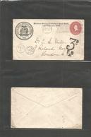Usa - Stationery. 1900 (19 Nov) Madison Sq - NY - UK, London 2c Red Stat Env + Private Print. Societas Medica + Taxed +  - United States