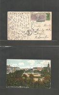 Usa - Xx. 1912 (5 Sept) Monmouth - Sweden, Torsas (22 Sept) 1c Fkd Ppc + Taxed + 2 Swedish P. Due + Tax Label, All Tied  - United States