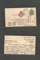 Usa - Stationery. 1926 (23 June) Hasbroack Height, NJ - Slastugs, UK (6 May) 1c Green Stat Card, Taxed + GB P. Due Tied  - United States