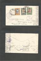 Yemen. 1941 (1 Dec) Sanaa - Lebanon (Beyrouth) (31 Dec) Via Maouia. Censor At Aden + Egypt. Multifkd Envelope, Bilingual - Yemen