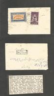 Yemen. 1950 (Feb) Sanaa - Hodeidah. Reverse Multifkd Local Envelope Usage, Mixed Issues Incl Ovptd 1 Bog Lilac Value, Bi - Yemen