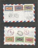Yemen. 1951 (Apr - May) Taif - USA, NYC (12-13 May) Sanaa - New York Ovptd Issue. Registered Air Multifkd Envelope + R - - Yemen