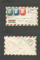 Yemen. 1954 (20 Feb) Taiz - Lebanon, Beyrouth (25 Feb) Registered Air Multifkd Env. King Ahmed Issue + Lilac R-cachet. V - Yemen