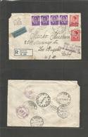 Yugoslavia. 1940 (10 Oct) Smokvica - USA, LA, CA (24-26 Oct) Via Lisbon - NY. Registered Air Multifkd Envelope. Mixed Is - Yugoslavia