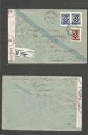 Yugoslavia. 1941 (13 Oct) Ernestinovo - Germany, Hannover. Registered Ovptd Multifkd Envelope. Nazi Censor. Scarce Villa - Yugoslavia