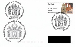 SPAIN. POSTMARK ATM SEVILLA 2018. ESPAÑA SQUARE AND SAN TELMO PALACE - Marcofilia - EMA ( Maquina De Huellas A Franquear)