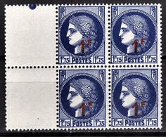 FRANCE 1941 - BLOC DE 4 TP  Y.T. N° 486 - NEUFS** - - France