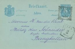 Nederlands Indië - 1896 - 5 Cent Cijfer, Briefkaart G10 Van VK Soerabaja Naar VK Bangkalan - Indes Néerlandaises