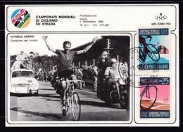 1968 Italia Italy CAMPIONATI MONDIALI CICLISMO IMOLA Cartolina N.1854 Adorni Campione Del Mondo CONI Affr. Ciclismo - Ciclismo