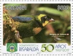 Lote 2017-3.1, Colombia, 2017, Sello, Stamp, Departamento De Risaralda 50 Años 1967-2017, Bird, Bangsia De Tatama, Ave - Colombia