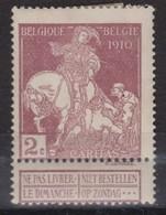 BELGIQUE 1910:  Le 2c 'Saint Martin' (Y&T 89), Neuf * - 1914-1915 Rode Kruis