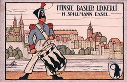 Publicité, Feinste Basler Leckerli H. Spillmann Basel, Litho (920) Format Carte Postale 9x14 - Publicités