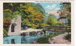 Illinois Joliet West Park Rustic Bridge And Spring House Curteich - Joliet