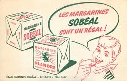 Buvard Ancien MARGARINE SOBEAL -ETABLISSEMENT DE BETHUNE - Produits Laitiers