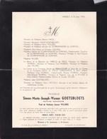 HASSELT Notaire Simon GOETSBLOETS 86 Ans 1956 Famille De SCHRIJNMAKERS De DORMAEL Faire-part Mortuaire - Overlijden