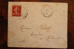 Lettre Cachet Ambulant Aurillac à Neussargues 1/10/1912 Cantal - Posta Ferroviaria