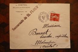 Lettre L Chetail St Flour Cachet Ambulant Severac à Neussargues 26/12/1909 Cantal - Posta Ferroviaria