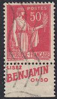 FRANCE Francia Frankreich - 1932 - Yvert 283c Con Banda Pubblicitaria, Obliterato, 50 Cent, Rosa/rosso, Paix. - France