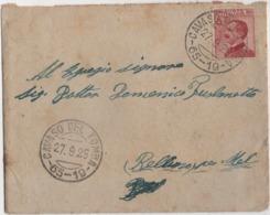 Michetti Cent. 60 Su Piccola Busta Con Annullo Cavaso Del Tomba 65-19 (Treviso) 27.09.1925 Per Mel (Belluno) - 1900-44 Vittorio Emanuele III