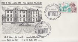 Enveloppe   FRANCE  7éme  Exposition  Philatélique   ARGELES  SUR  MER   1981 - Esposizioni Filateliche