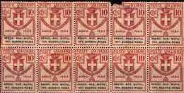 90470) ITALIA-Ass. Nazionale Mutilati Invalidi Di Guerra Roma - Enti Semistatali - Novembre 1924-MNH**BLOCCO DI 10 V. - 1900-44 Victor Emmanuel III