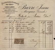FACTURE ENTETE 1903 -  FOURNITURES GENERALES DE CHAI VIMES JONC FUTS - BARREJEUNE  MARGAUX GIRONDE - Steuermarken