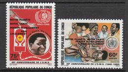 "1989 Congo Brazzaville WHO Overprint ""Healthcare For Everyone""  Complete Set Of 2 MNH - Congo - Brazzaville"