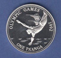 Tonga 1991 Olympische Spiele Barcelona 1992 Silbermünze One Pa'anga PP - Monnaies
