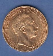 Goldmünze Preußen Wilhelm II. 20 Mark A 1902.  7,98g 900er Gold. - Münzen
