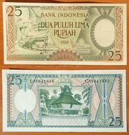 Indonesia 25 Rupiah 1958 UNC - Indonésie