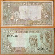 Indonesia 10 Rupiah 1960 F - Indonésie