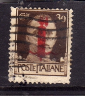 ITALIA REGNO ITALY KINGDOM 1944 IMPERIALE FASCIO REPUBBLICA SOCIALE RSI CENT. 30c USATO USED OBLITERE' - 1944-45 Sociale Republiek