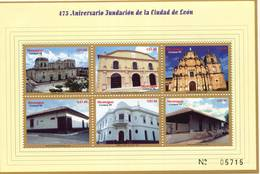 Lote 2315, Nicaragua, 1999, Pliego, Sheet, City Of Leon, Cathedral, Theater, Ruben Dario Museum - Nicaragua
