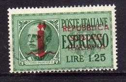 REPUBBLICA SOCIALE ITALIANA 1944 ESPRESSO LIRE 1,25 FASCIO IN CALCOGRAFIA MNH FIRMATO - 4. 1944-45 Repubblica Sociale