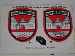 Blason écusson Adhésif Autocollant Carte Postale Double Stadt Bersenbrück Aufkleber Wappen - Obj. 'Souvenir De'