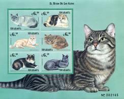 Lote 2066, Nicaragua, 1999, HF, SS, El Mundo Fe Los Gatos, The World Of Cats, Cat, Turkish Angora, Russian Blue - Nicaragua