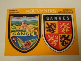 Blason écusson Adhésif Autocollant Ganges Double Avec Vue (Hérault) - Obj. 'Souvenir De'