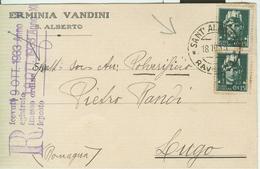 IMPERIALE Cent.15X2,TARIFFA C.P.privata,TIMBRO POSTE SANT'ALBERTO (RAVENNA)-LUGO,ERMINIA VANDINI-S.ALBERTO (RAVENNA) - 1900-44 Vittorio Emanuele III
