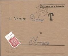 1946/47 Fragment De Lettre, Cachet TAXES , Timbre-taxe 3F Rouge, Notaire Delvaux Clervaux, Michel 2019: 33 - Postage Due