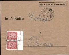 1946/47 Fragment De Lettre, Cachet TAXES , Timbre-taxe 3F Rouge, Notaire Delvaux Clervaux, Michel 2019: Paire 33 - Postage Due